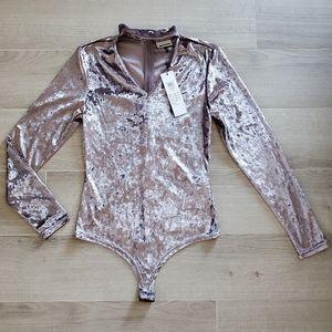 NWT Noisy May Mauve Velvet Body Suit Sz. S